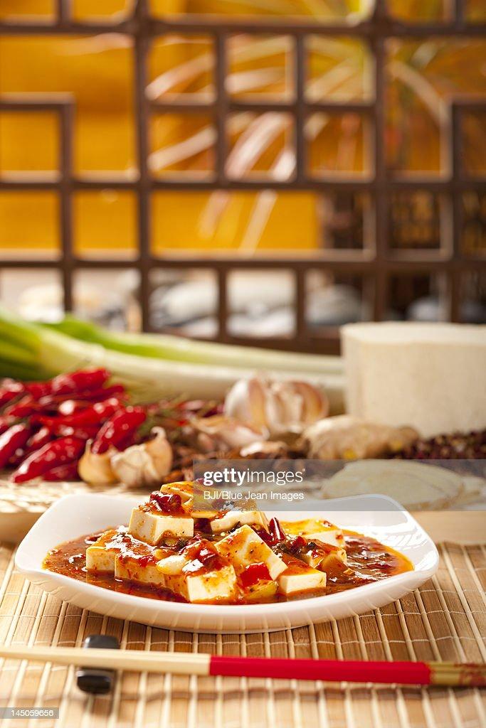Close-up of Chinese Mapo Tofu : Stock Photo