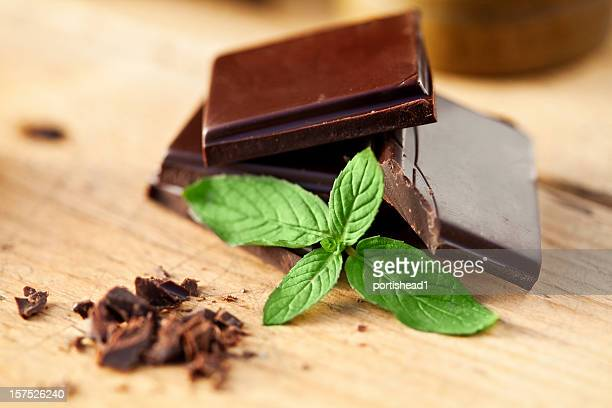 Close-up of chocolate and mint garnish