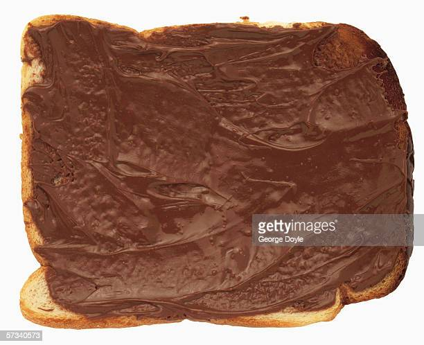 close-up of chocolate spread on a slice of bread