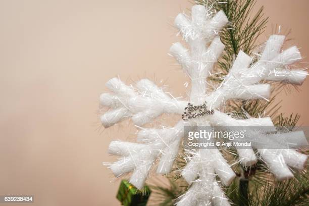 Close-Up Of Christmas Decoration On Christmas Tree with Copy Space