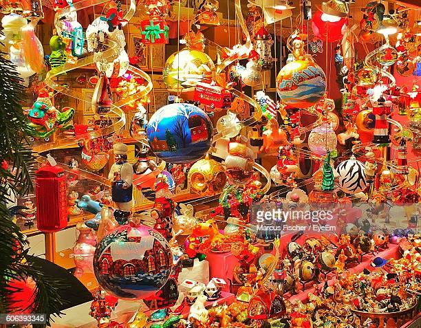 Close-Up Of Christmas Decorations And Toys For Sale