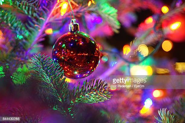 Close-Up Of Christmas Ornament Hanging On Tree
