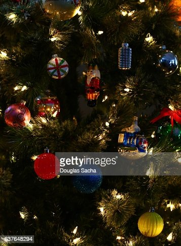 Closeup of Christmas Tree Ornaments on a Holiday Tree