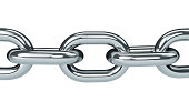 Close-up of chrome steel chain links