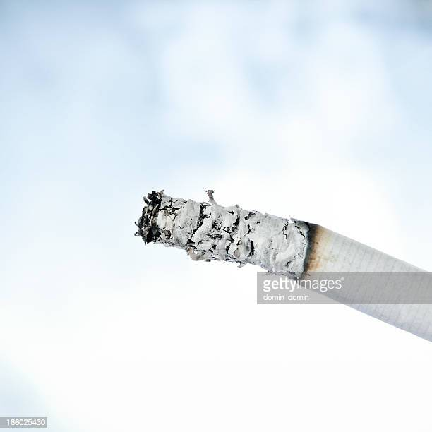 Close-up of cigarette and ash isolated on smoke background