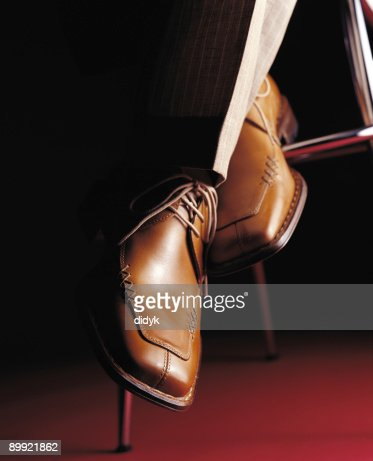 Close-up of classy pair of brown leather men's shoes