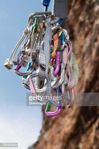 Close-up of climbing equipments : Foto de stock