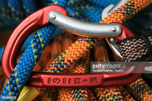 Close-Up Of Climbing Ropes Connected By Carabiner