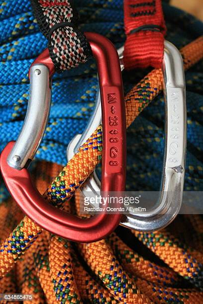 Close-Up Of Climbing Ropes Connected By Carabiners