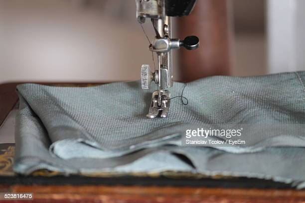Close-Up Of Cloth On Sewing Machine