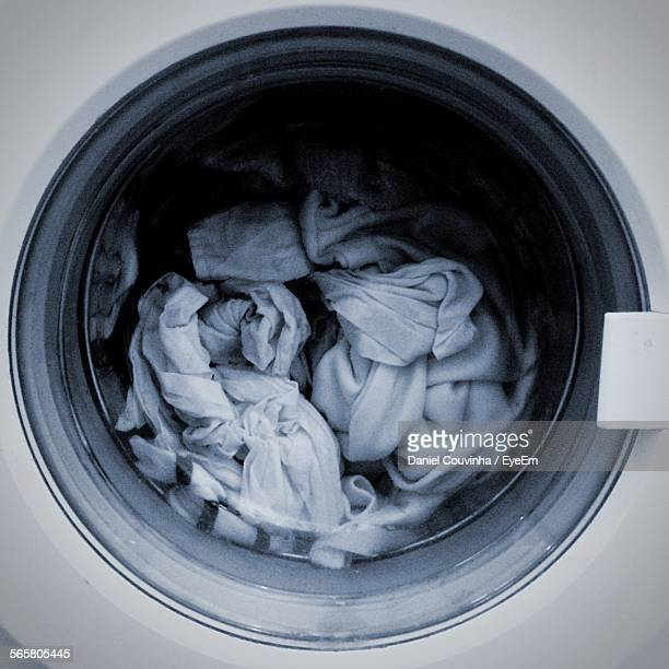 Close-Up Of Clothes In Washing Machine