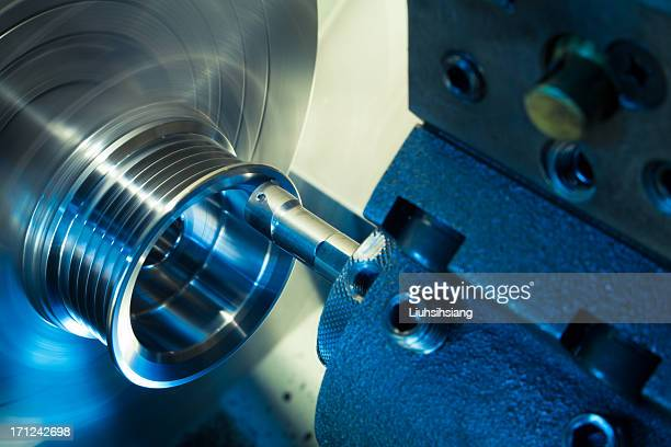 Closeup of CNC lathe processing