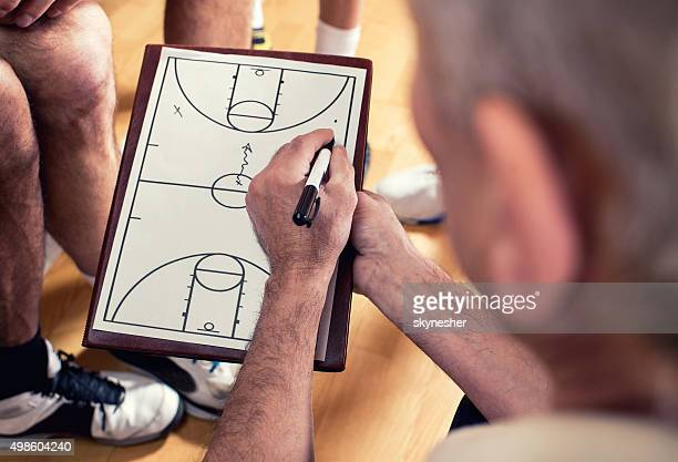 Close-up of coach making basketball strategy.