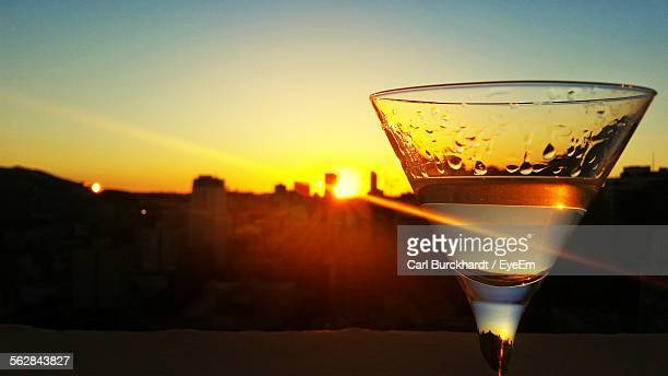 Close-Up Of Cocktail In Glass During Sunset