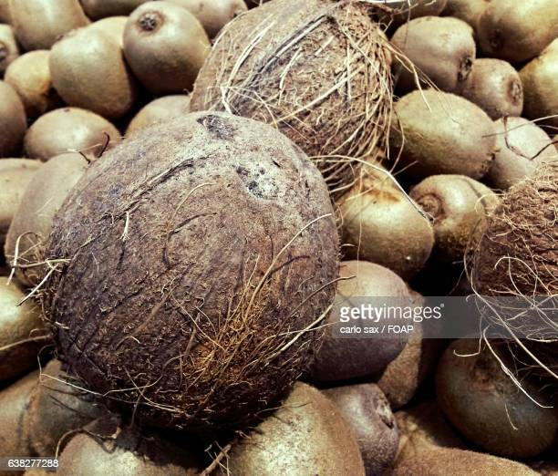 Close-up of coconuts and kiwis