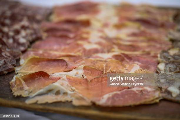 Close-Up Of Cold Cuts Served In Plate On Table