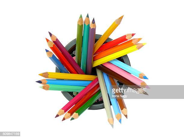Close-up of colored pencils in a container
