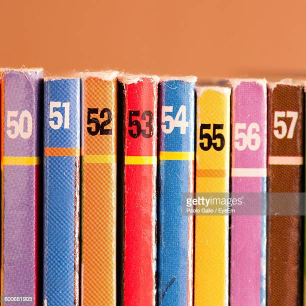 Close-Up Of Colorful Books With Numbers
