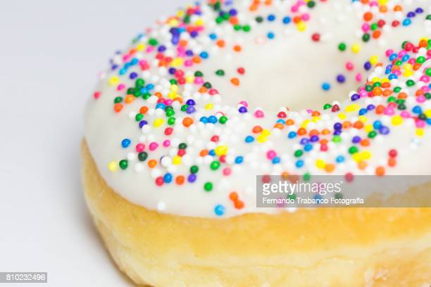Close-up of colorful donuts