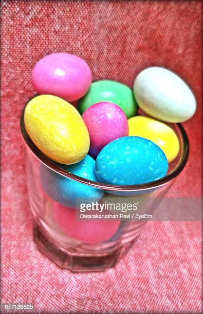 Close-Up Of Colorful Easter Eggs In Glass