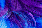 Closeup of purple and turquoise blue dyed hair. Trendy coloring hairstyle concept