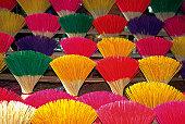 Close-up of colorful incense sticks, Hue, Vietnam