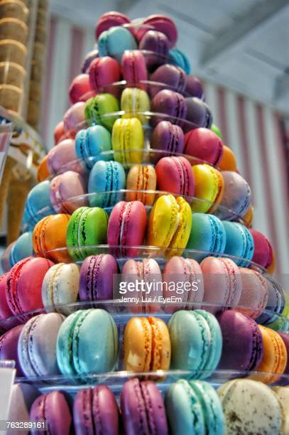 Close-Up Of Colorful Macaroons On Cakestand