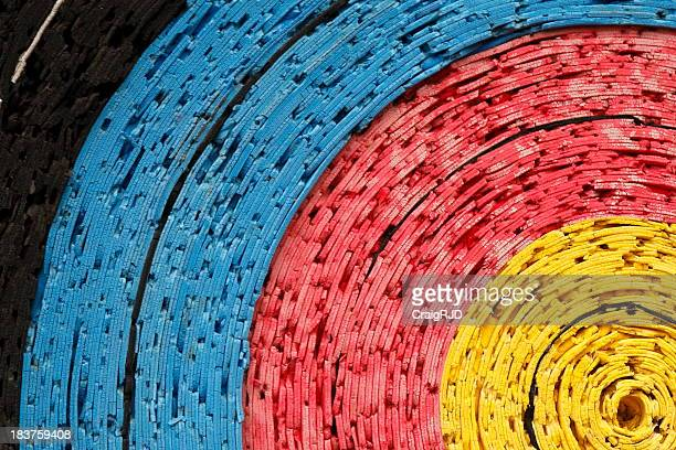 Close-up of colorful paper dart board