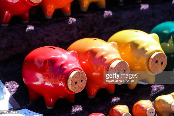 Close-Up Of Colorful Piggy Banks In A Row In Store