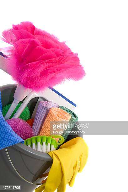 Close-up of Colourful Cleaning Supplies Against White Background