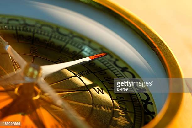 Closeup of compass with shallow depth of field