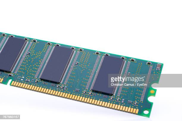 Close-Up Of Computer Chip On White Background