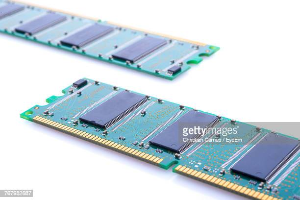 Close-Up Of Computer Chips On White Background