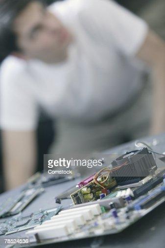 Close-up of computer parts : Stock Photo