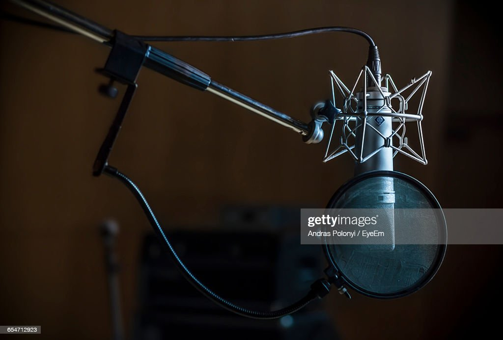 Close-Up Of Condenser Microphone In Recording Studio