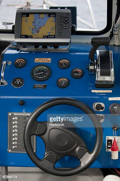 Close-up of controls of a security boat
