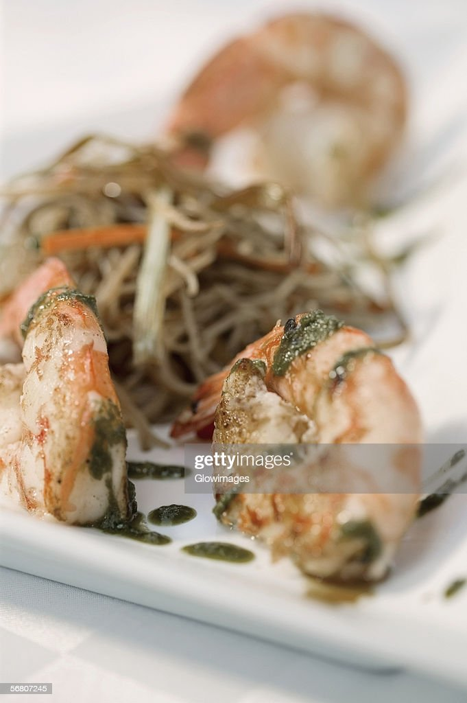 Close-up of cooked prawns in a plate : Stock Photo