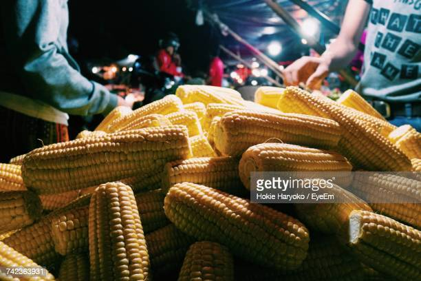 Close-Up Of Corn On The Cobs On Market