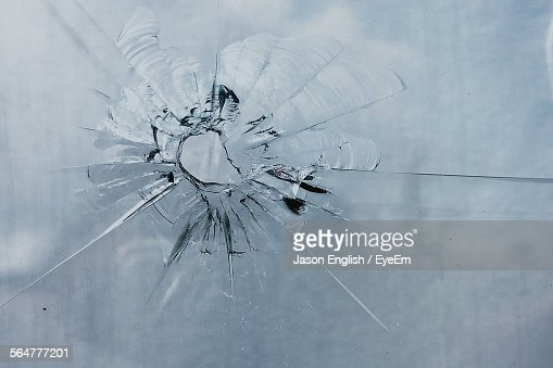 Close-Up Of Cracked Glass Window
