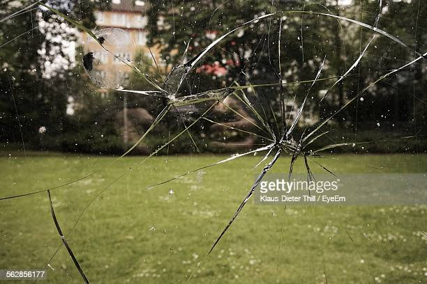 Close-Up Of Cracked Window Glass