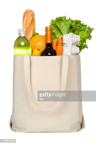 Close-up of credit card and groceries in canvas tote