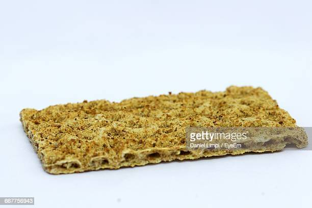 Close-Up Of Crispbread On White Background
