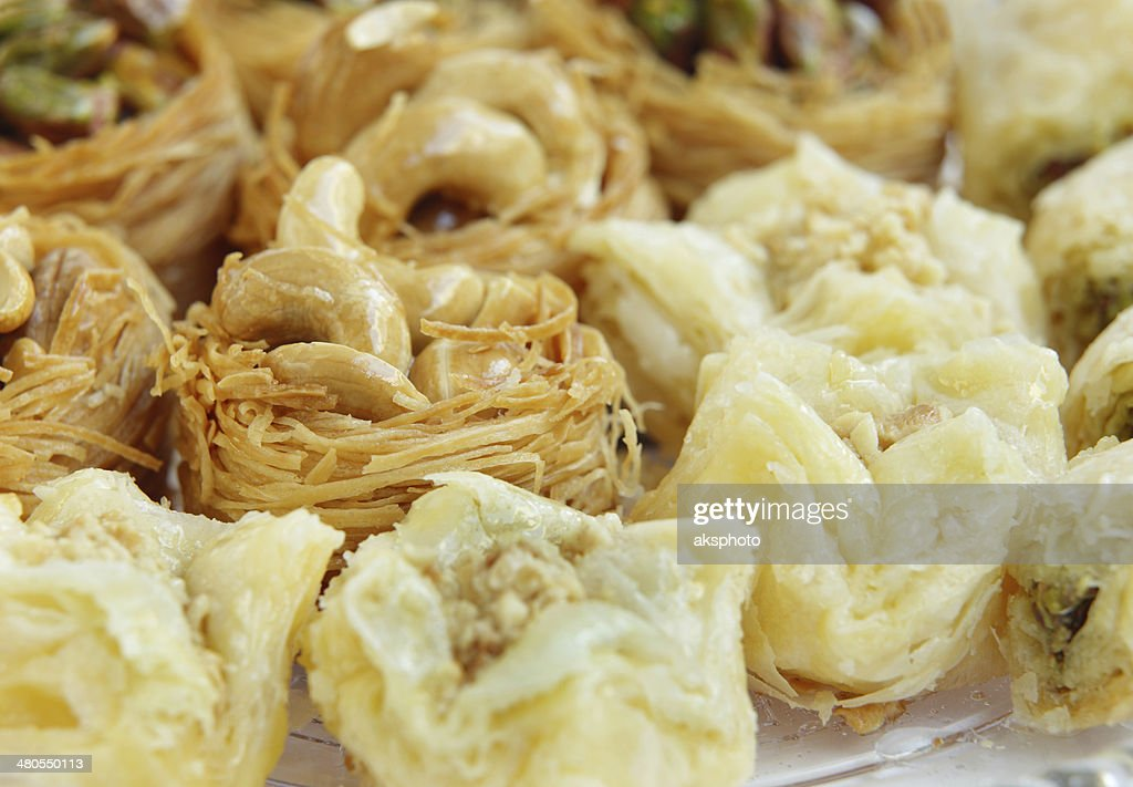 closeup of Crispy Arabic sweets Baklava focus on cashew : Stock Photo