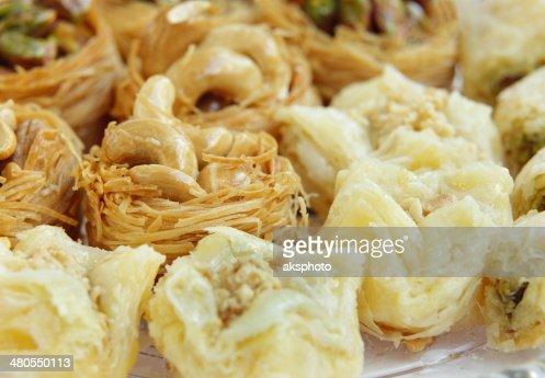 closeup of Crispy Arabic sweets Baklava focus on cashew : Stock Photo