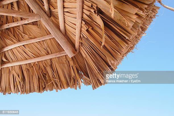 Close-up of cropped thatched roof against clear sky