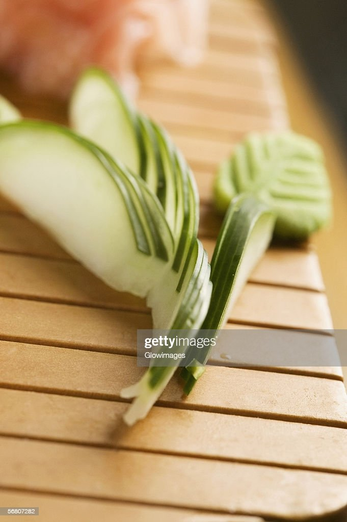 Close-up of cucumber slices : Stock Photo