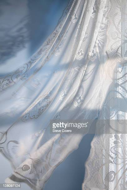 Close-up of curtains blowing