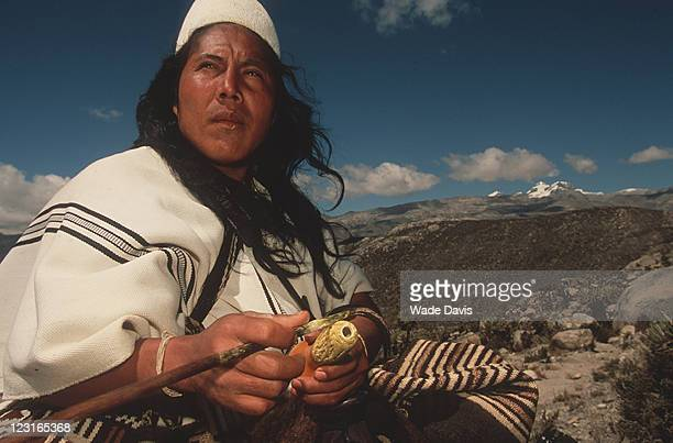 Closeup of Danilo Villana a leader of the Arhuaco people while on a ritual pilgrimage through his people's ancestral land in the Sierra Nevada de...