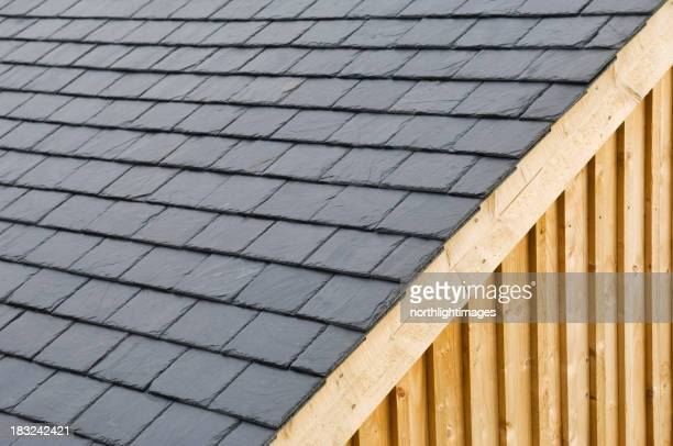 Close-up of dark gray roof slates