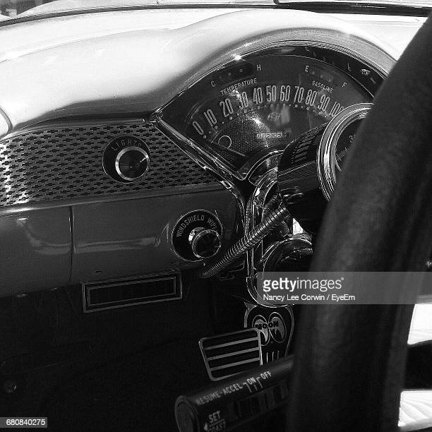 Close-Up Of Dashboard Of Vintage Car